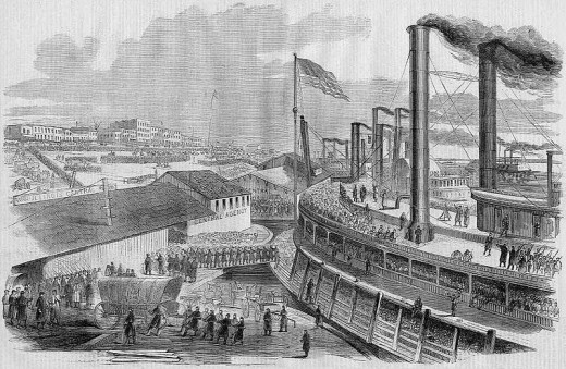 Sketch - troops embark upon a river steamboat