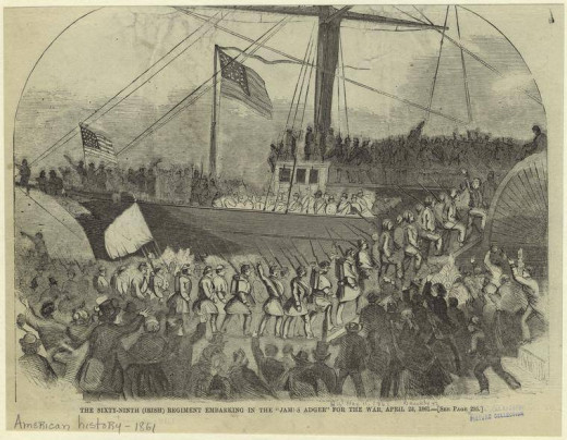 69th NY Volunteers board a ship in NY Harbor