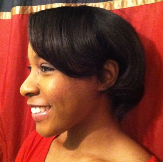 Relaxed hair styled with Royale Straightener