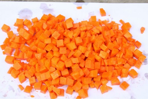 chopping the carrots