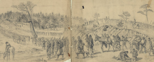 Sketch - Army of the Potomac on the march