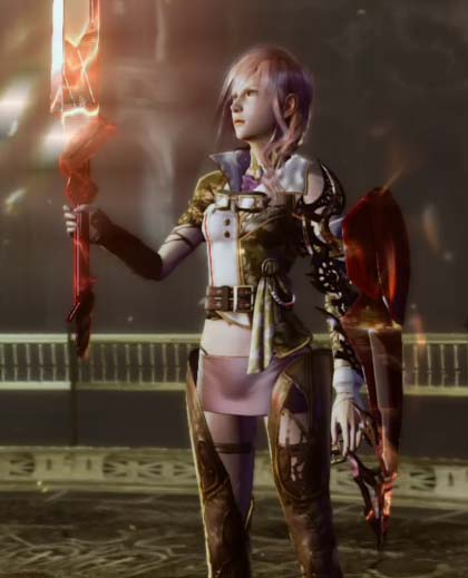 Lightning will get the Ultima Weapon and Shield after finishing the four trials in God's Sanctum.