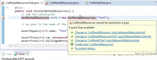 "ECLIPSE ""quick fix""  provides the suggestions for problem resolution. The obvious one is to create the class."