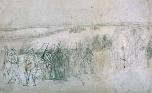 Sketch - a Regiment on the march