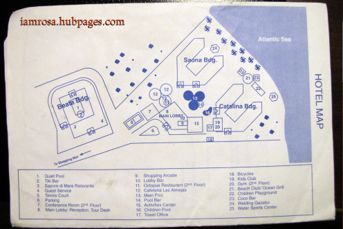 The map provided to guests upon check-in.  I stayed in the Beata Building (on the left side).