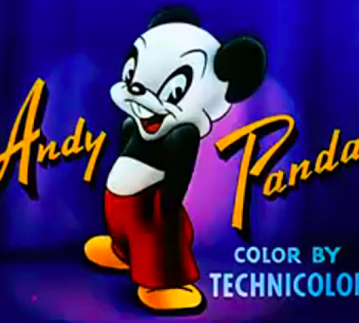 Andy Panda was a cheerful, loveable, but blundering character who appeared in cartoons and comics.