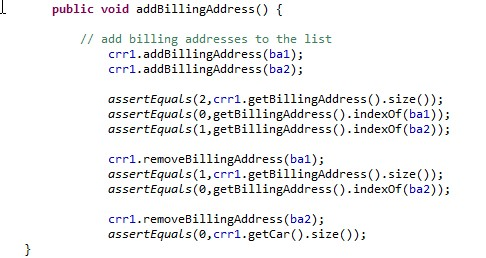 The addBillingAddress() Method mirrors the actions of  the addCar() Method. It acts upon billing addresses.