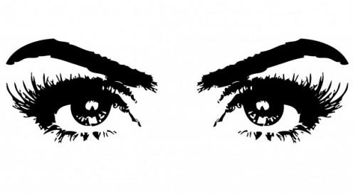 Black and whit illustration of eyes.