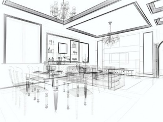 Interior design 3D sketch
