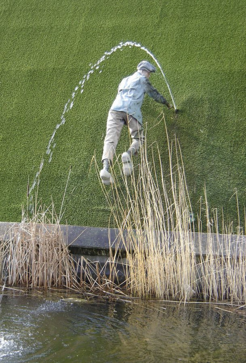 The boy plugging the dike with his thumb, from Hans Brinker. This statue is in Madurodam, Netherlands.