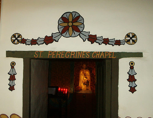 Entrance to Saint Peregrine Shrine at Mission.