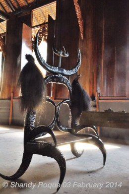 Baan Dam, Chiang Rai. The main house contains a dark-colored seat made of buffalo horns and animal hair.