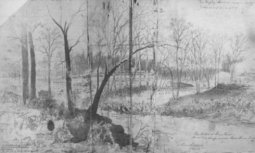 Sketch - troops cross a Stone's River at a ford in TN