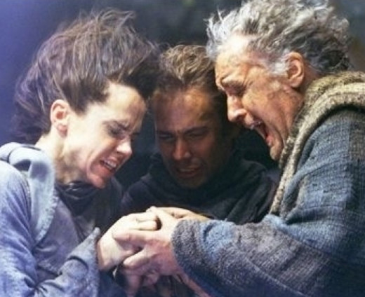 "In this screen shot from the movie, ""Timeline"", the characters are trying desperately to get their only remaining pendant to work, so they can return to the present day."