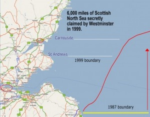 The new North Sea Scottish/English boundary since 1999