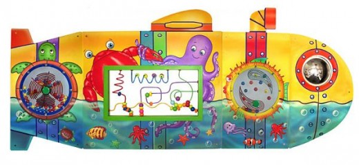 This wall panel has tons of activities and can accommodate many children at once.