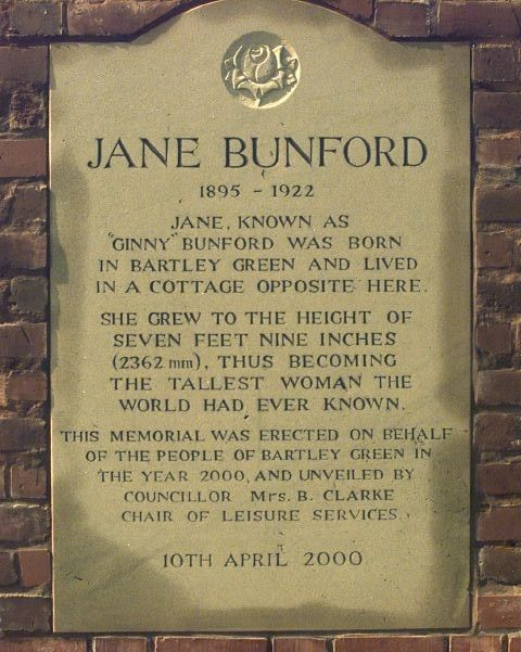 A plaque commemorating Jane Bunford.