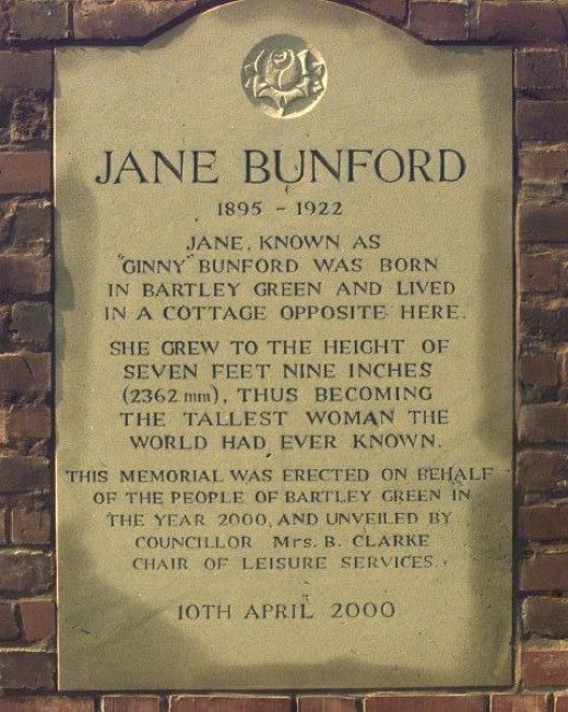 A plaque commemorating Jane Bunford.