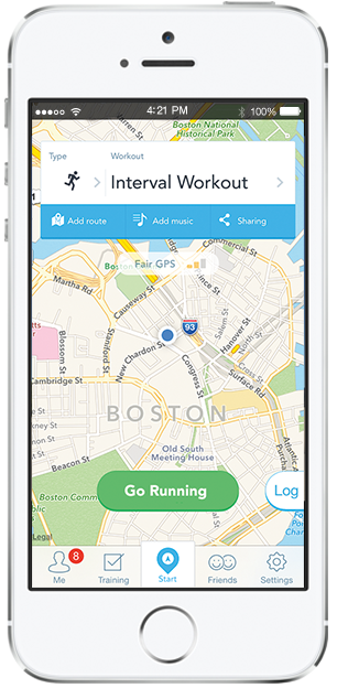 The RunKeeper app, which is available for both iOS and Android