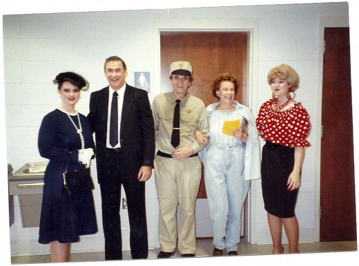 "I am the third from the right. I was ""Barney Fife,"" in our community theatre company: Kudzu Playhouse, based in Hamilton, Alabama"