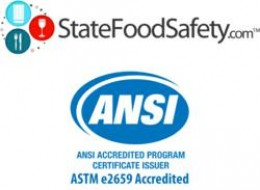 AboveTraining Inc./StateFoodSafety.com becomes the first food handler training program to receive accreditation from ANSI. California state senate created this requirement.