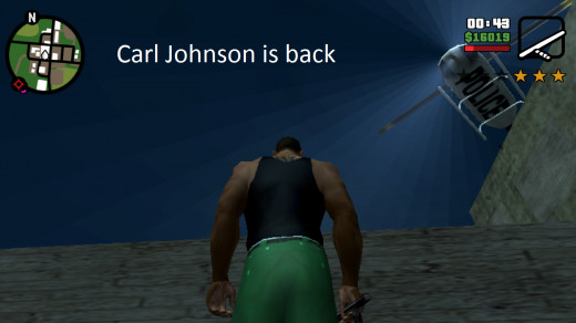 Carl Johnson on the run from a robbery in Blueberry