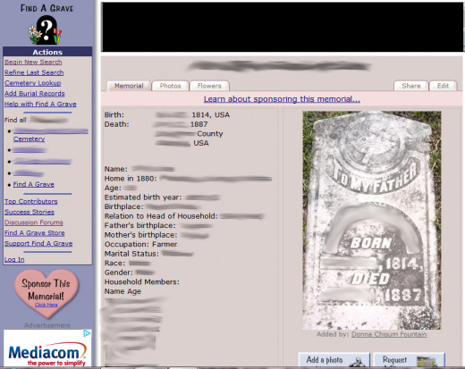 Altered photo that shows a FindAGrave submission that includes a photo of a headstone consistent with the transcribed birth and death dates, with the inclusion of additional information, in this case, census data.