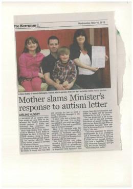 One of my letters to Minister for Health about lack of Autism Services.