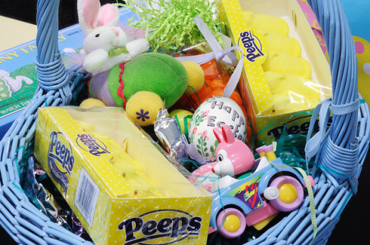 A great Easter basket is a combination of candy and toys.