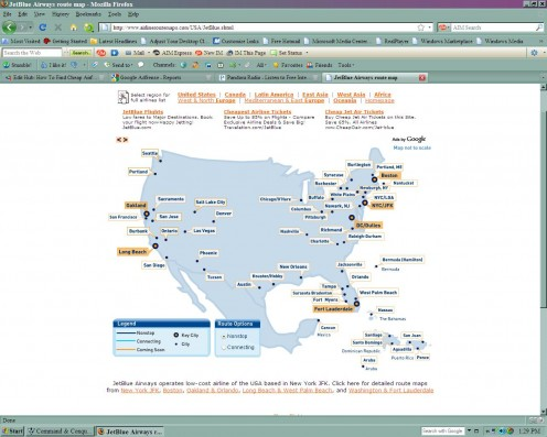 A different type of hub map (JetBlue).  See the map's key for details.  Photo courtesy of airlineroutemaps.com