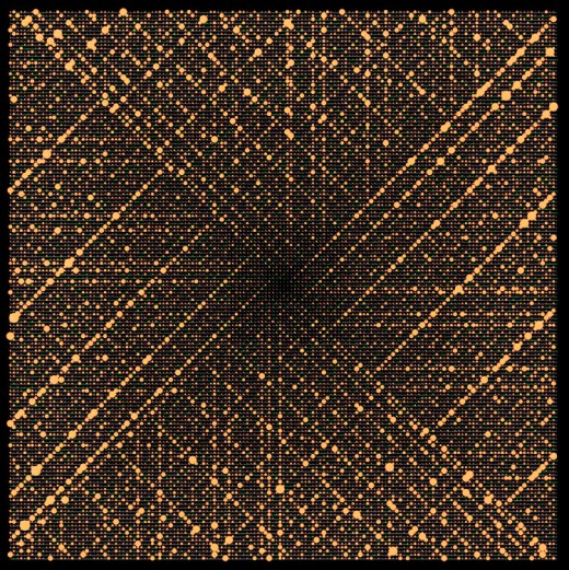 Ulam spiral of 150 iterations, with primes highlighted against the black. (Public Domain)