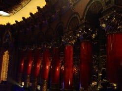 Some of the red pillars inside the theater at the Fox in St. Louis.  It was so beautiful, though the lighting was kind of dark and hard to capture.