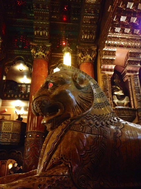 Inside the Fabulous Fox Theater was very beautiul!  Loved the lion here with its eyes that seemed to be lit up.