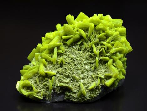 Uranium (U): autunite, carnotite, pitchblende, torbernite, used as uraninite uranium ore for energy and steel industry.