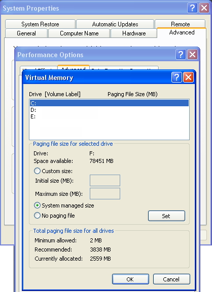 Virtual Memory window with the Paging File set to default