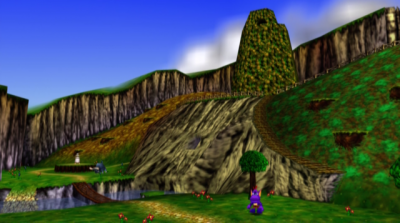 A first look at Mumbo's Mountain.  The tallest part is actually not the mountain--it's a termite hill.  Go figure.