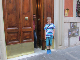 The huge door that leads to Residenza Dell'Angelo Apartments - well worth staying at, and you feel like a local