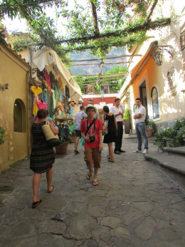 The hub of Positano - at the bottom of the cliff