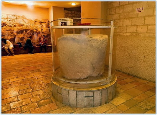 One of the six big stone jars that converted water in to wine - Site Excavation