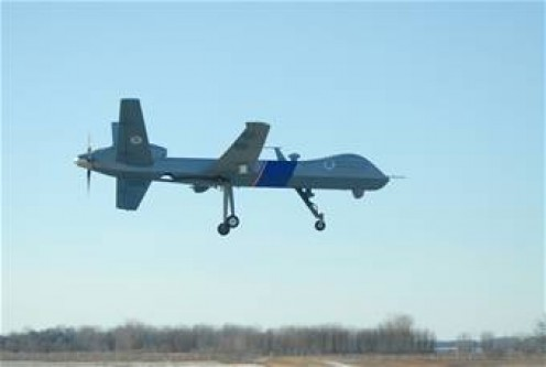 The first Predator B Unmanned Aircraft System on the northern border of North Dakota, at Grand Forks US Air Force Base.