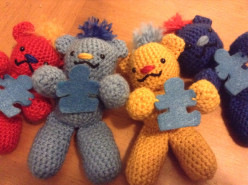 Crocheted Autism Awareness Bears