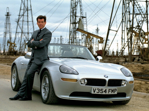 "Pierce Brosnan as James Bond in ""The world is not enough"" and his BMW Z8."