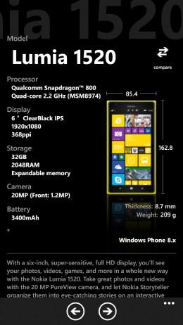 Lumia 1520 specs from insider pro