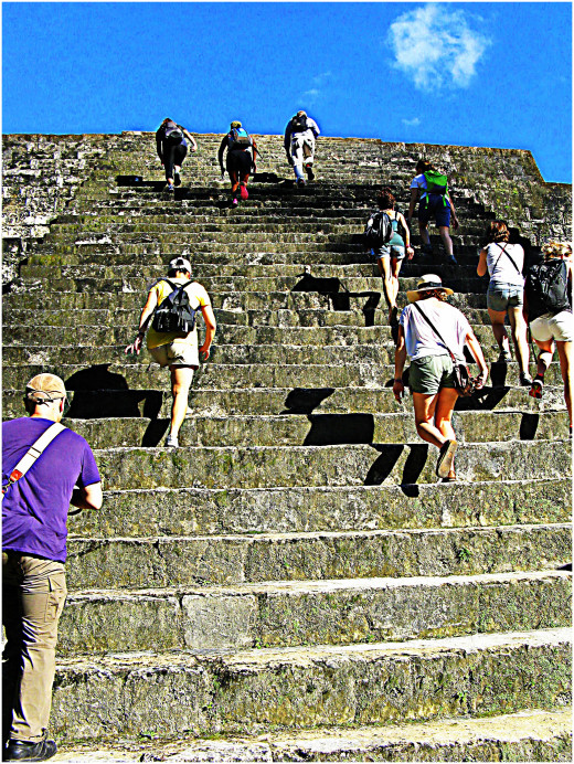 Climbing the temple steps