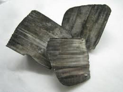 Pieces of lithium metal.