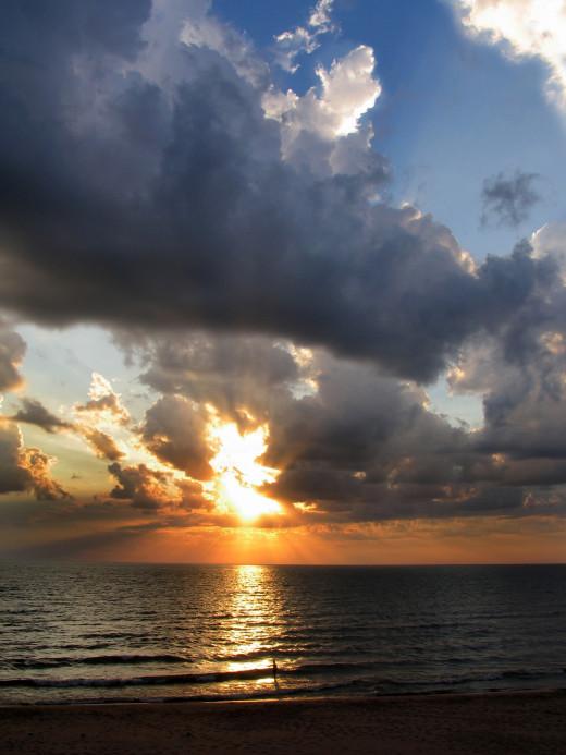 Dramatic Oval Beach Sunset
