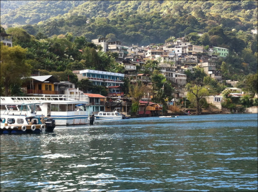 Approaching San Pedro in the lancha.