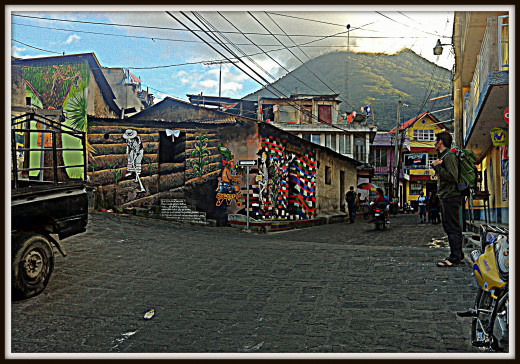 Streets of San Pedro and Volcan San Pedro in the background.