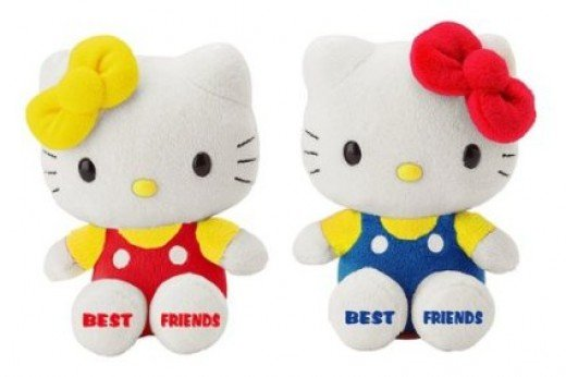 Twin plush Hello Kitty twins.