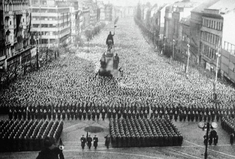 The Masses Mourn his death in Prague, Czechoslovakia